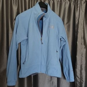 The North Face womens S baby blue fleece zippered